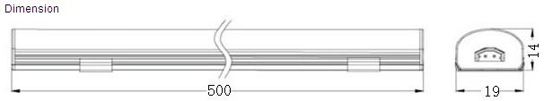 500mm Cabinet LED Bar Dimensions
